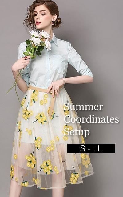5分袖ロングシャツと刺繍チュールのスカートの2点セット【7月25日22時販売新作】 bul-002 bul-002