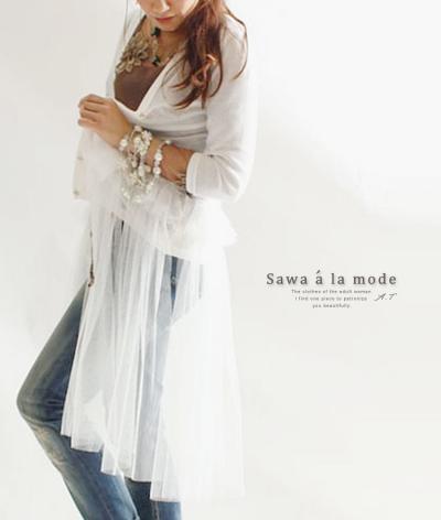 ふんわりチュール袖のカーデ【7月9日22時販売新作】 mode-0227