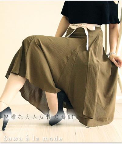 ミディアム丈のフレア巻きスカート【7月21日22時販売新作】 mode-0669