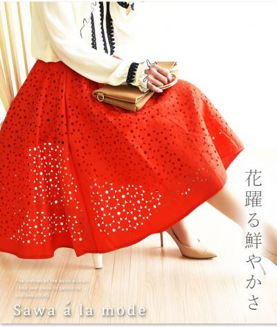 抜けた柄模様の型抜きスカート【7月20日22時販売新作】 mode-0733